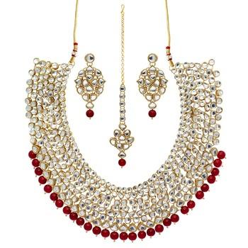 Maroon Color Imitation Pearl Kundan Necklace With Earrings & Maang Tikka