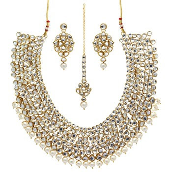 White Color Imitation Pearl Kundan Necklace With Earrings & Maang Tikka