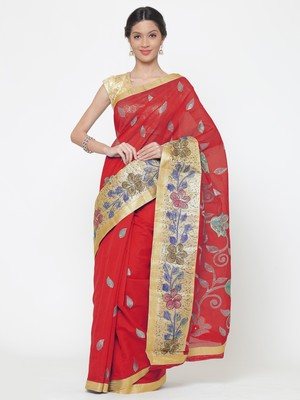 Chhabra 555  Red embroidered Art Silk Heavy Work saree with blouse
