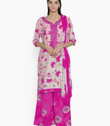 Buy chhabra 555 Pink thread embroidery unstitched floral print salwar kameez with dupatta dress-material online