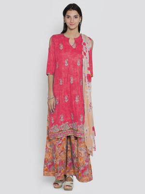 chhabra 555 red beads unstitched floral print salwar kameez with dupatta