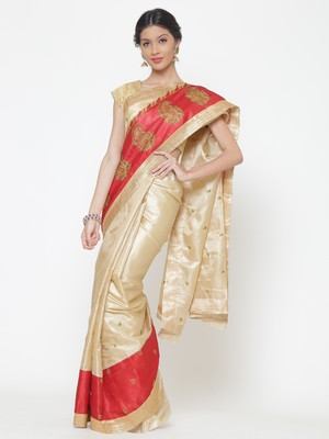 Chhabra 555  Beige embroidered Art Silk Heavy Work saree with blouse