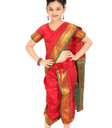 Girls Stitched Traditional Nauvari Saree With Stitched Blouse
