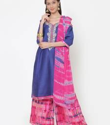 Buy chhabra 555 Blue thread embroidery unstitched lehariya salwar kameez with dupatta dress-material online