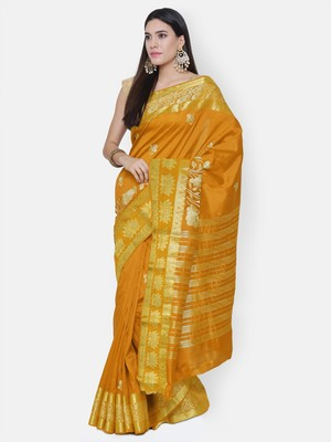 Chhabra 555  Orange embroidered Art Silk Heavy Work saree with blouse