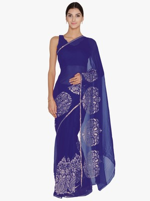 Chhabra 555  Blue Embellished Poly Chiffon  saree with blouse