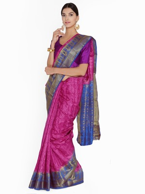 Chhabra 555  Magenta Woven design Art Silk Banarasi saree with blouse