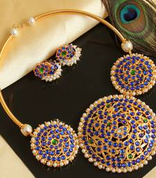 Buy Beautiful Blue Green Temple Designer Necklace Set  necklace-set online
