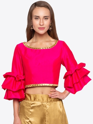 Pink Solid Polysilk Readymade Blouse