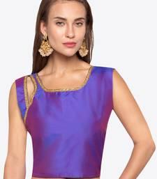 Purple Solid Tafetta Silk Readymade Blouse