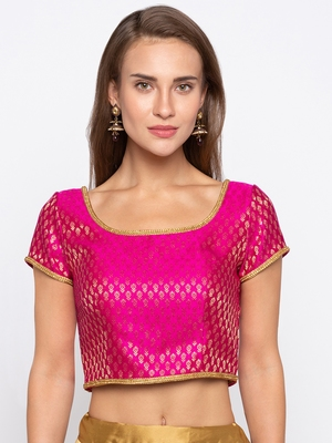 Pink Self Design Jacquard Readymade Blouse