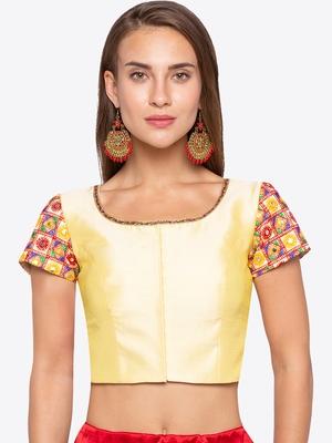 Yellow Solid Banglori Silk Readymade Blouse