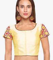 Yellow Solid Banglori Silk Readymade Blouse