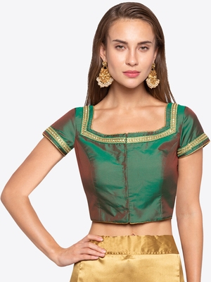 Green Solid Tafetta Readymade Blouse