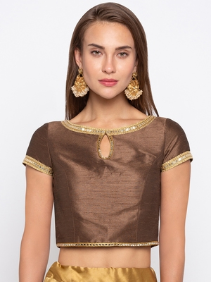 Brown Solid Dupion Readymade Blouse