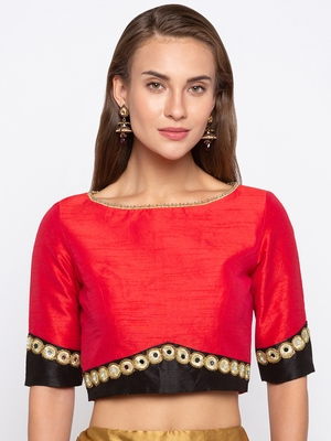 Red Solid Dupion Readymade Blouse