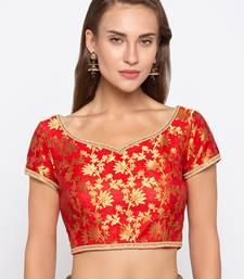 Red Self Design Jacquard Readymade Blouse