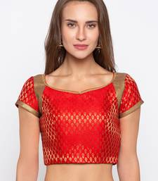 Red Self Design Jacquard Readymade Blouse