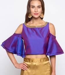Buy Purple Solid Polysilk Tafetta Readymade Blouse readymade-blouse online