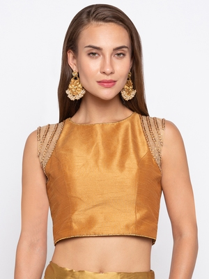 Gold Solid Tafetta Silk Readymade Blouse