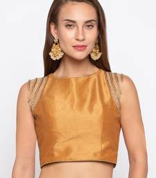 Buy Gold Solid Tafetta Silk Readymade Blouse readymade-blouse online