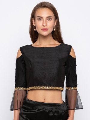 Black Solid Dupion with Net Readymade Blouse