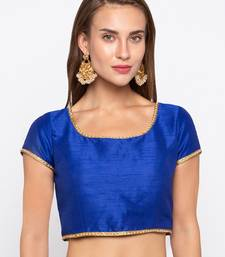 Blue Solid Dupion Readymade Blouse