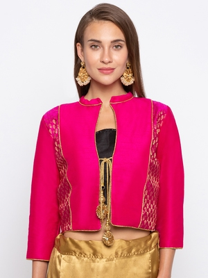 Pink Solid Dupion & Jacquard Readymade Blouse