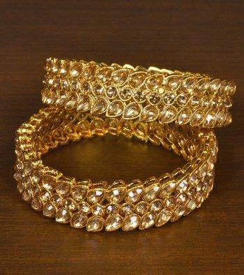Gold Plated Gheru Stone Embellished Wedding Essential Designer Bangles for Indian Women