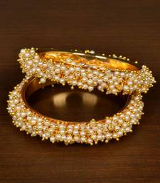 Gold Plated Seed Pearls Pair of Designer Bangles for Women