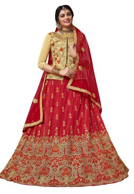 Red Embroidered Silk Semi Stitched Lehenga With Dupatta