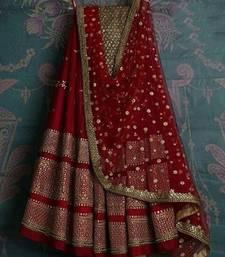 Buy Marron Georgette Embroidered lehenga Choli with Dupatta women-ethnic-wear online