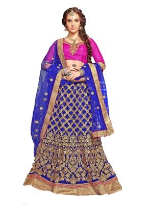 blue embroidered net unstitched lehnga choli
