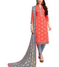 Peach woven banarasi silk salwar with dupatta