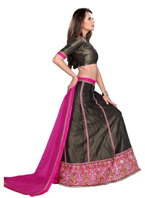 Black With Rani Color  Multi Emb With Heavy Border Work