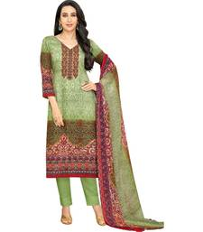 Green Satin Cotton Printed & Embroidered Unstitched Salwar Suit