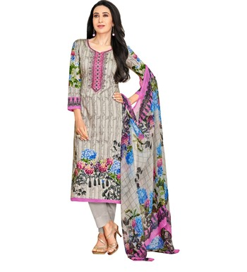 b074ad47e5 Grey Satin Cotton Printed & Embroidered Unstitched Salwar Suit - Mf Next  Com - 2727216
