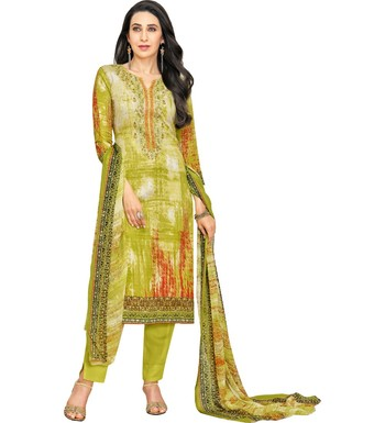 Parrot Green Satin Cotton Printed & Embroidered Unstitched Salwar Suit