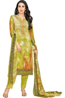 820c34687 Parrot Green Satin Cotton Printed   Embroidered Unstitched Salwar Suit