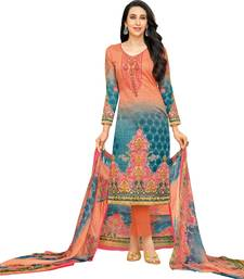Orange Satin Cotton Printed & Embroidered Unstitched Salwar Suit