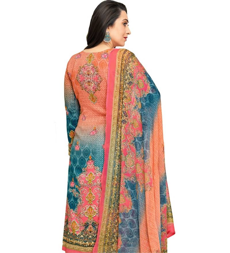 f788db3f02 Orange Satin Cotton Printed & Embroidered Unstitched Salwar Suit ...