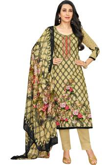 e65da3accc1 Beige Satin Cotton Printed   Embroidered Unstitched Salwar Suit