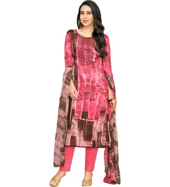 Pink Satin Cotton Printed & Embroidered Unstitched Salwar Suit