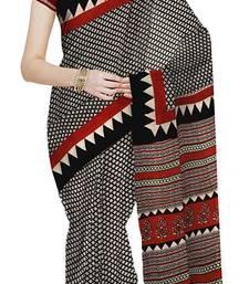 Buy Beige  And  Black Handblock Print Cotton Saree With Blouse cotton-saree online