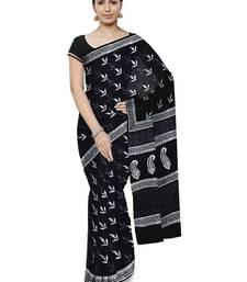 Buy Black Handblock Print Cotton Saree With Blouse cotton-saree online