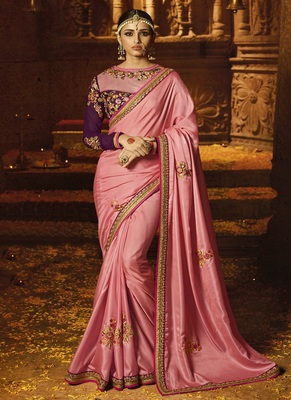 Light pink embroidered crepe saree with blouse