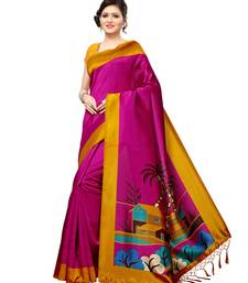 Buy Purple plain silk blend saree with blouse great-indian-saree-festival online