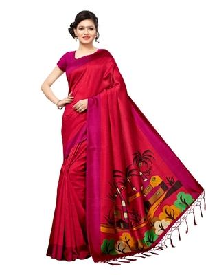 Maroon plain silk blend saree with blouse