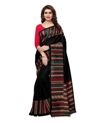 344130126569b Black plain art silk saree with blouse - Satrani Fashion - 2727807