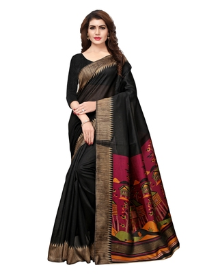b298817dda Black plain art silk saree with blouse - Satrani Fashion - 2727816